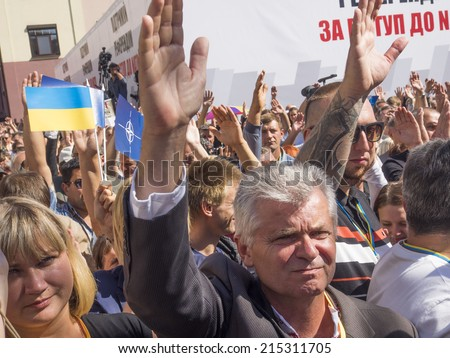 "UKRAINE, KYIV - September 4, 2014: Participants of the meeting. -- Party ""Batkivschyna"" announced the creation of the initiative group on referendum on Ukraine's accession to NATO"
