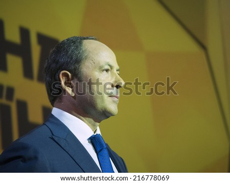 "UKRAINE, KYIV - September 11, 2014: Sergey Tigipko speaks to delegates to the Congress of party ""Strong Ukraine"". Congress delegates approved a program and the list of candidates in majority districts"