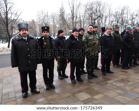 UKRAINE, LUGANSK - February 9, 2013: Participants in various Cossack associations and clubs Lugansk offered their services to local authorities on policing in the city.