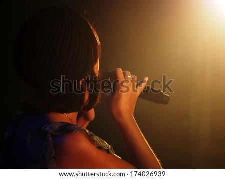 UKRAINE, LUGASK - September 13, 2013: The famous Ukrainian opera and jazz singer Jamala (Born Susana Dzhamaladinova) gave a the  concert in Luhansk. Jamala performs original music - stock photo