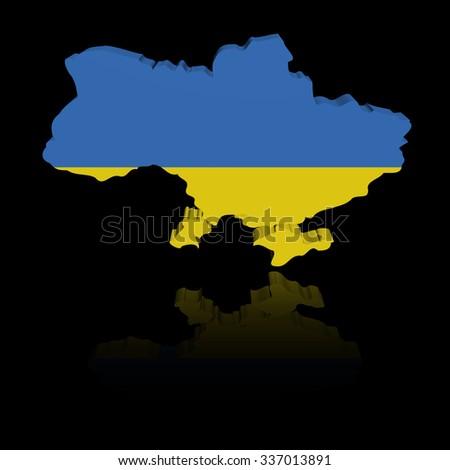 Ukraine map flag with reflection illustration - stock photo