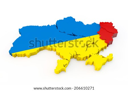 Ukraine map with allocated red Donetsk and Lugansk regions - stock photo