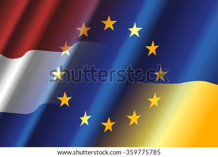 Ukraine & Netherlands & European Union - stock photo