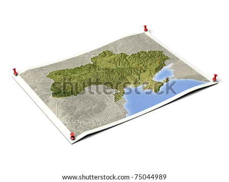Ukraine on unfolded map sheet with thumbtacks. Map colored according to vegetation, with borders and major urban areas. Includes clip path for the background.