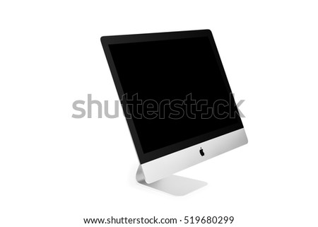 UKRAINE, RIVNE, NOVEMBER 4, 2016. Apple Computer iMac 27 retina display 5K isolated on a white background