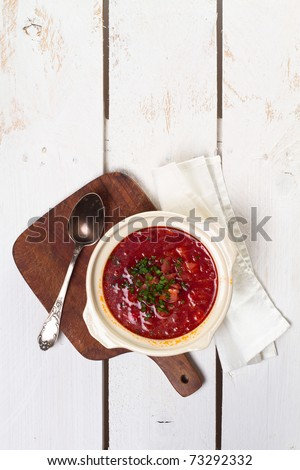 Ukrainian and russian national red borsch with herbs & spice - stock photo