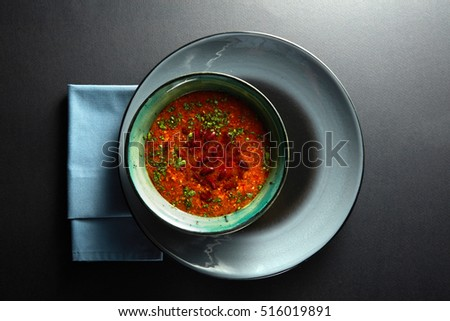 Ukrainian and russian national red soup
