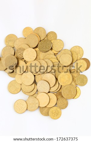 Ukrainian coins on a white background - stock photo