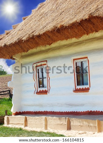 Ukrainian farmhouse. History and Culture of Ukraine - stock photo
