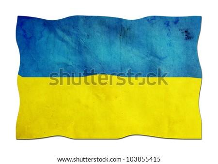 Ukrainian Flag made of Paper - stock photo