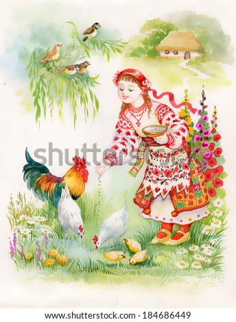 Ukrainian girl feeding chickens - stock photo