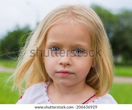 ukrainian girl- large emotion portrait  - stock photo