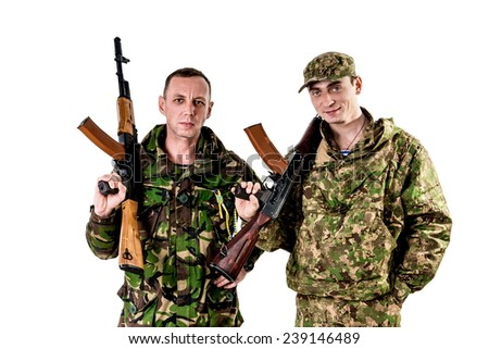 Ukrainian military. peaceful warrior, defender in camouflage on a white background. returned from the war home  - stock photo