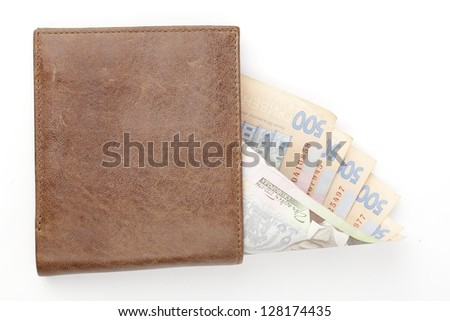 Ukrainian money (hryvnia) and wallets