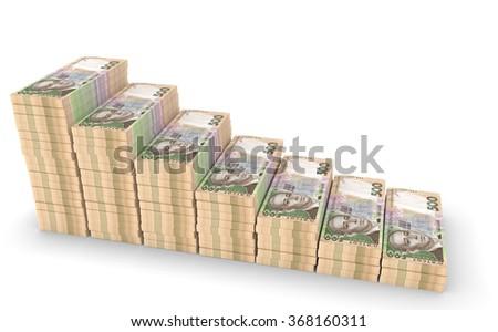 Ukrainian money hryvnia isolated on white background - stock photo