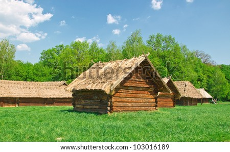 ukrainian old log hut in a forest