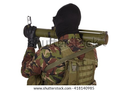 Ukrainian paramilitary volunteer with RPG grenade launcher isolated on white