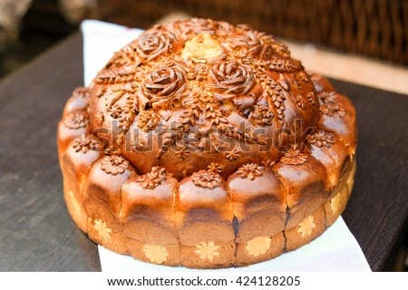 Ukrainian traditional wedding bread. Shallow depth of field - stock photo