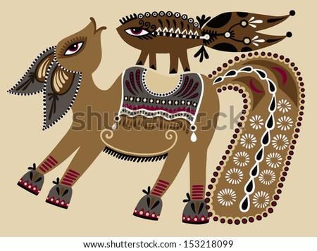 ukrainian tribal ethnic painting, unusual horse, folk illustration, raster version - stock photo