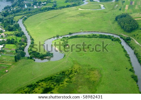 Ukrainian village - aerial view. Rivne region, Ukraine. - stock photo