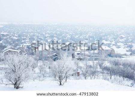 Ukrainian village under snow - stock photo