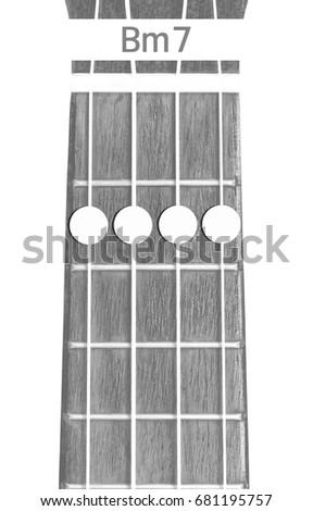 Ukulele Chord Bm 7 On White Background Stock Photo Royalty Free