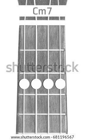 Ukulele Chord Cm7 On White Background Stock Photo Royalty Free