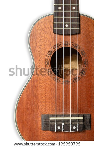 Ukulele guitar on white background