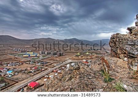 Ulaanbaatar, capital of Mongolia, view from Zaisan Tolgoi - stock photo