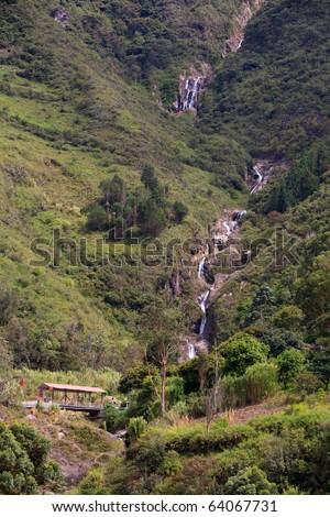 Ulba waterfall , longest waterfalls group in the ecuadorian Andes. - stock photo