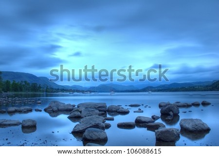 Ullswater at dusk, Lake District, Cumbria, UK