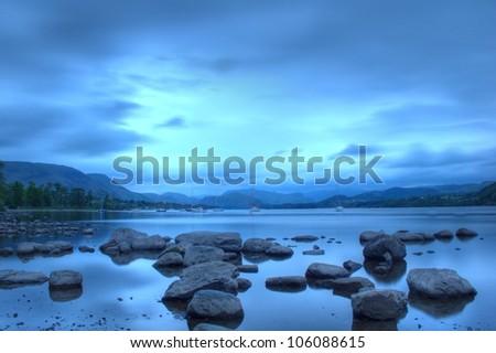 Ullswater at dusk, Lake District, Cumbria, UK - stock photo