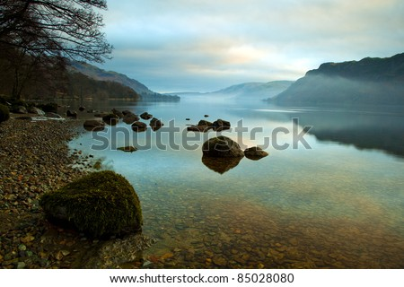 Ullswater at Sunrise, Lake District, Cumbria UK - stock photo