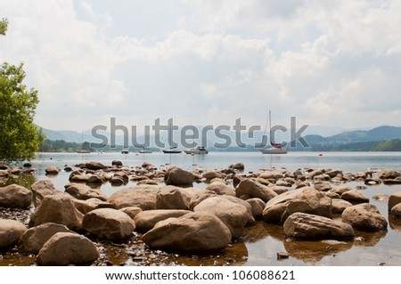 Ullswater lakeside view in the Lake District, Cumbria - stock photo