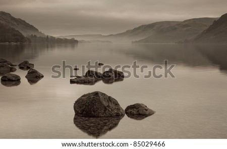 Ullswater Sepia, Lake District, Cumbria UK - stock photo