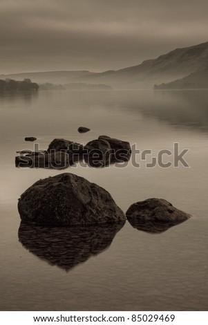Ullswater Sepia, Lake District, Cumbria UK - stock photo