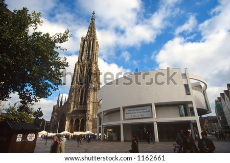 Ulm Cathedral and Square - stock photo