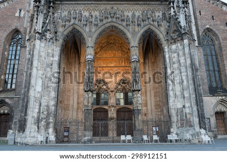 ULM, GERMANY - October 03, 2013: Entrance of Ulm Minster, the tallest church in the world with height 161.5 metres (530 ft)
