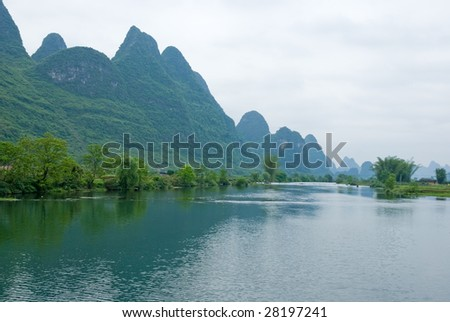 Ulong river near Yangshuo, Guangxi province, China - stock photo