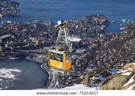 Ulriken in Bergen - View of the city - stock photo