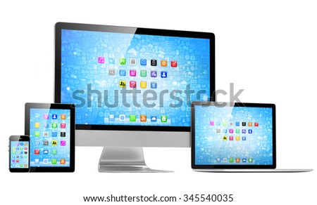 Ultimate web design, laptop, smartphone, tablet, computer, display - stock photo