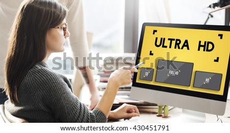 Ultra HD Definition Monitor Resolution Screen Concept - stock photo
