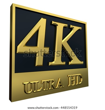 Ultra HD 4K icon isolated on white background, 3d illustration - stock photo