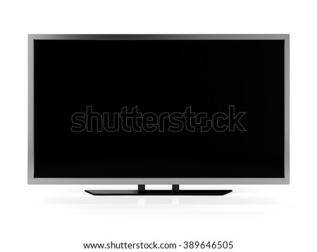ultra hd tv blank screen isolated white background with clipping path