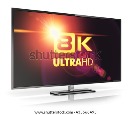 Ultra high definition digital television screen technology concept: 3D render illustration of 8K UltraHD resolution TV cinema or computer PC monitor display isolated on white background