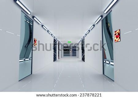 Ultra Modern Futuristic Building Corridor Illustration 3D artwork - stock photo