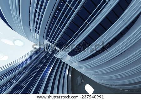 Ultra Modern Futuristic Data Center Illustration 3D artwork - stock photo