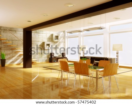 ultra modern  hi-tech design  interior with  concrete wall - stock photo