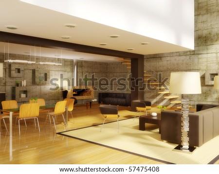ultra modern  hi-tech design  interior with  concrete wall - stock photo