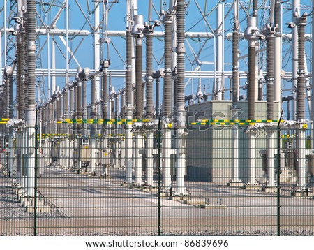 Ultra modern high voltage transformation power station for electrical Industry with transformers - stock photo